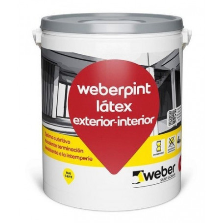 Pintura Látex Weber Exterior Interior Blanco 4l